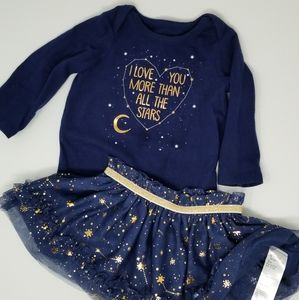 Matching Sets - Baby Girl Blue Stars Constellation Skirt Outfit